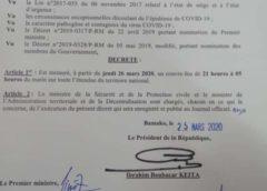 Mali :Un couvre-feu décrété par le Président de la République