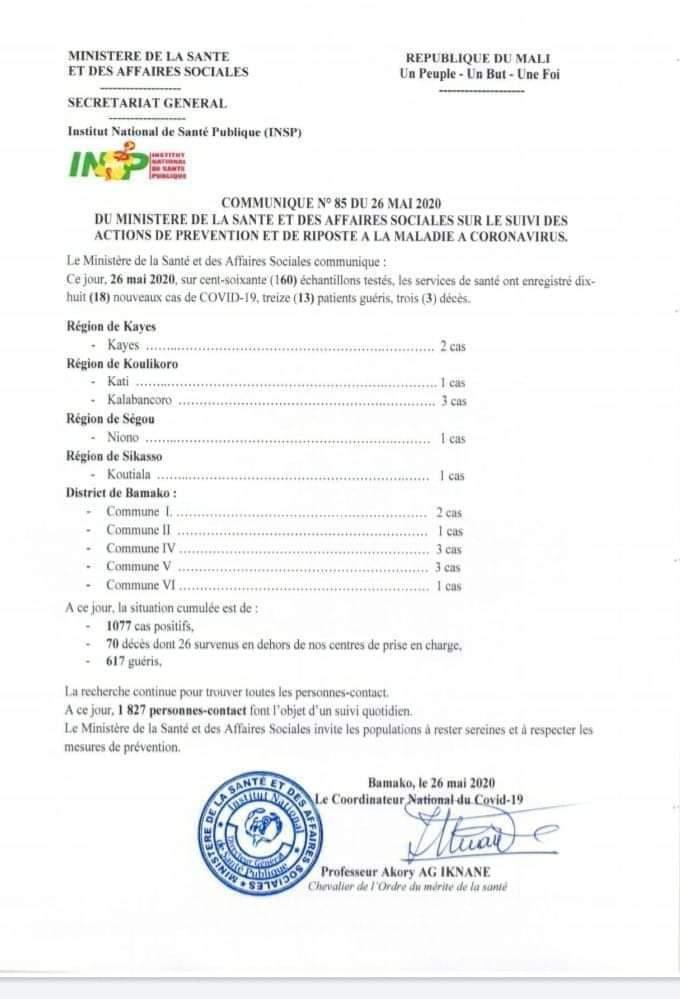 Communiqué N°85 #MSAS #Covid19  Situation de la maladie à coronavirus à la date du 26 Mai 2020
