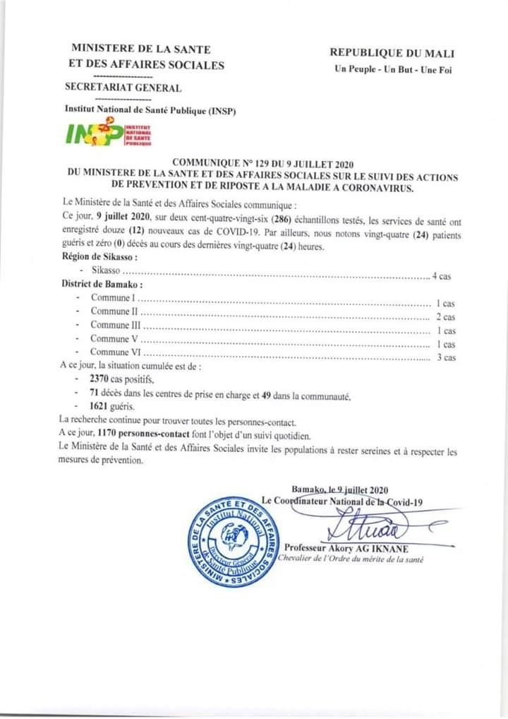 Mali: 12 nouveaux cas de Covid-19, Zéro (00) décès, 24 patients guéris  ce Jeudi 09 Juillet 2020