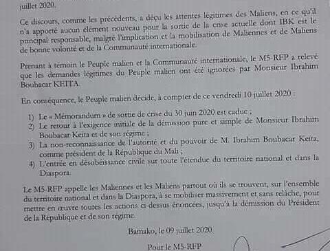 La toute première résolution du mouvement du 5 juin- Rassemblement des forces patriotiques (M5 RFP), sur le discours à la nation du président de la République