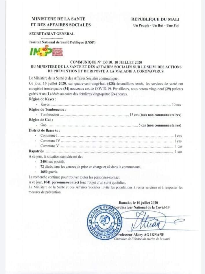 Mali: 34 nouveaux cas de Covid-19, Un(01) décès, 29 patients guéris  ce vendredi 10 juillet  2020