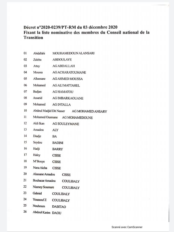 Mali: Liste des membres du Conseil National de la Transition de CNT