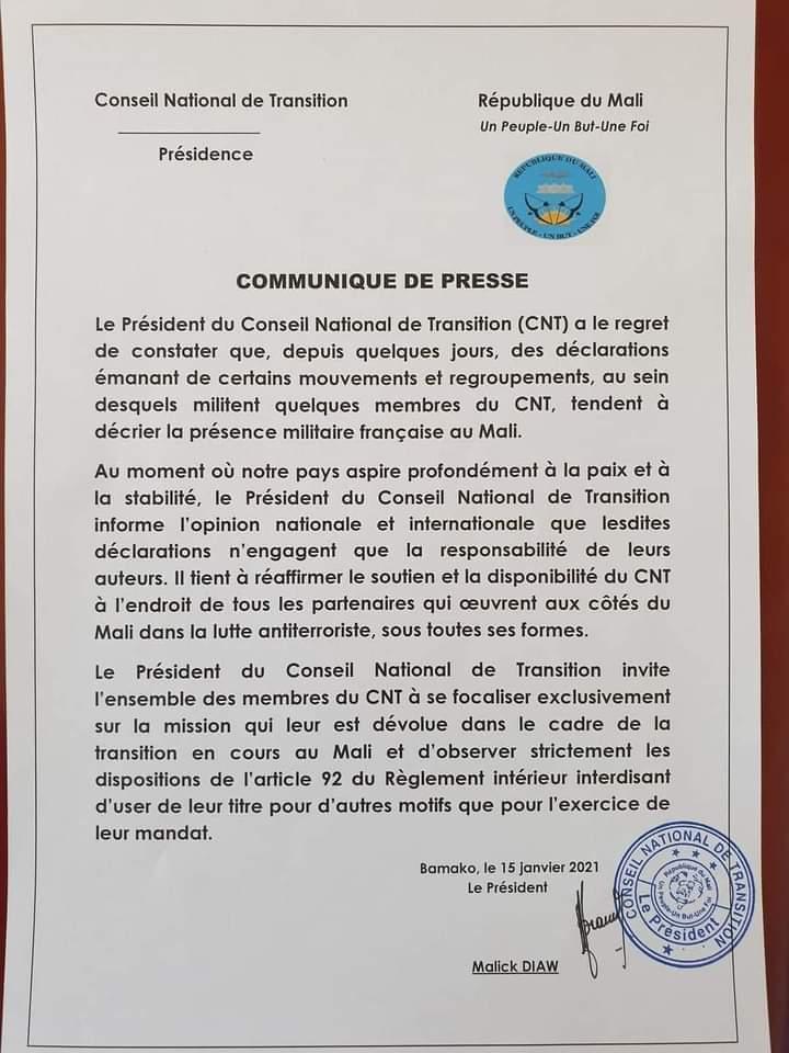 LE CONSEIL NATIONAL DE TRANSITION COMMUNIQUE A PROPOS DE LA GRANDE MARCHE CONTRE LA PRÉSENCE DES MILITAIRES FRANÇAIS AU MALI