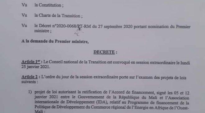 Mali:Le Conseil National  de  la transition  est  convoqué en session extraordinaire  le lundi 25 janvier 2021
