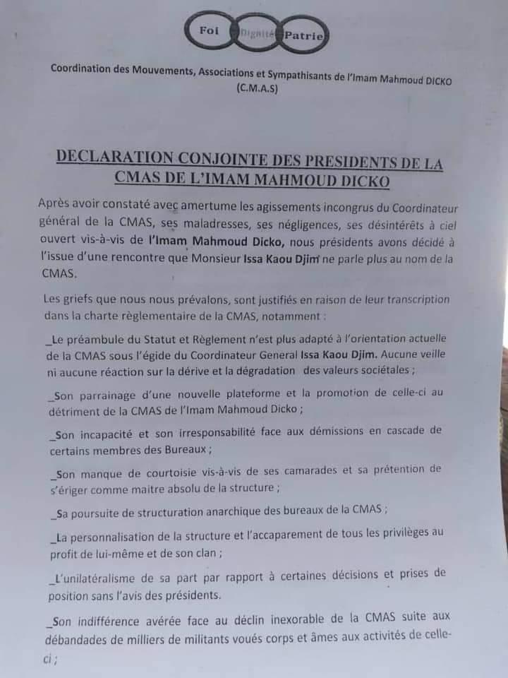 CMAS: Le Coordinateur, Kaou Djim, destitué par ses camarades
