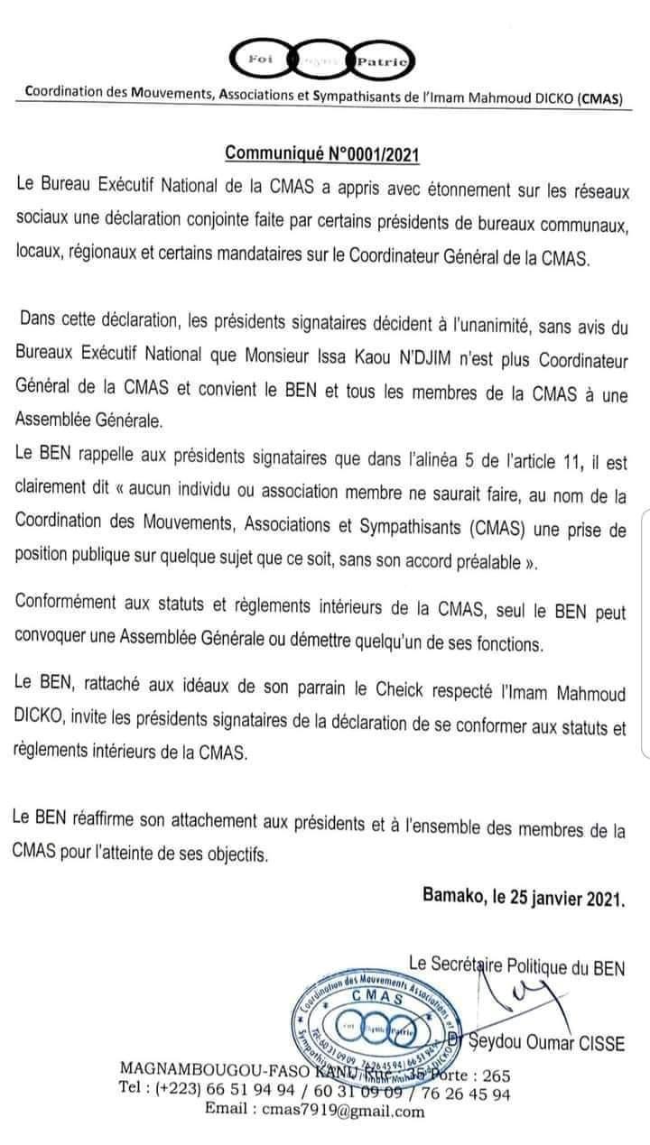 La réplique du BN sur la destitution d'Issa Kaou Djim