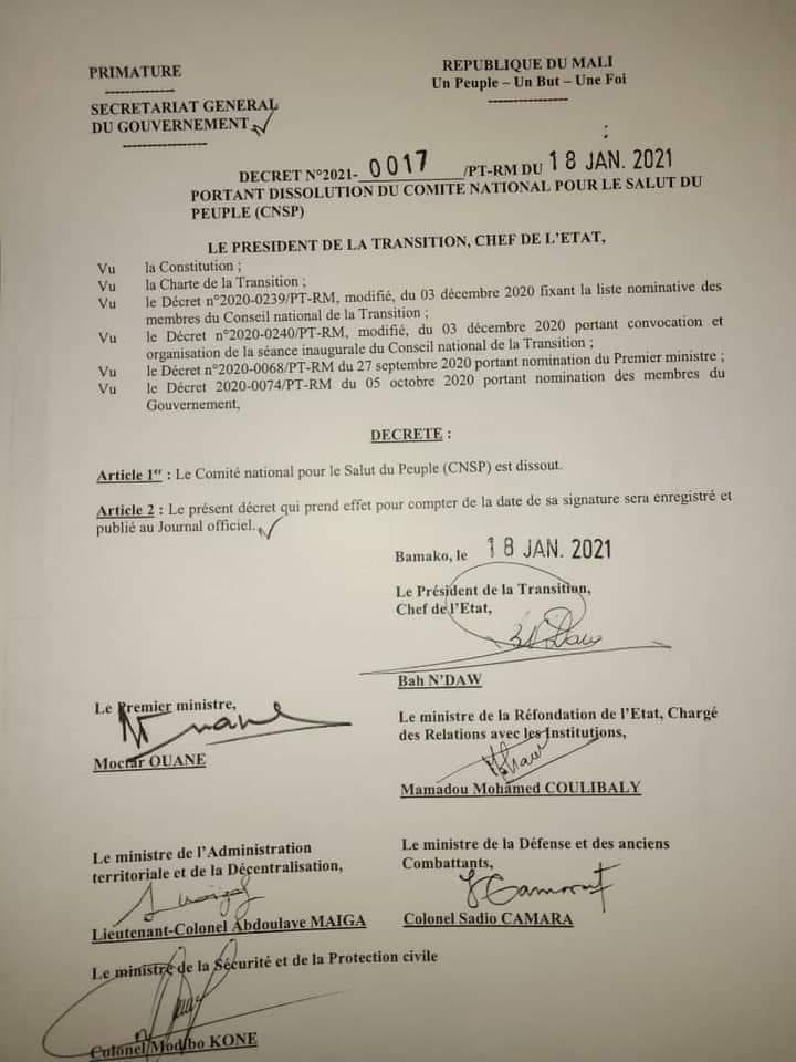 Mali: Le Comité  National  pour  le  salut du peuple (CNSP) est dissout