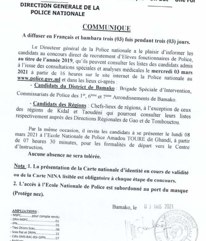 COMMUNIQUÉ OFFICIEL DU DIRECTEUR GÉNÉRAL DE LA POLICE NATIONALE