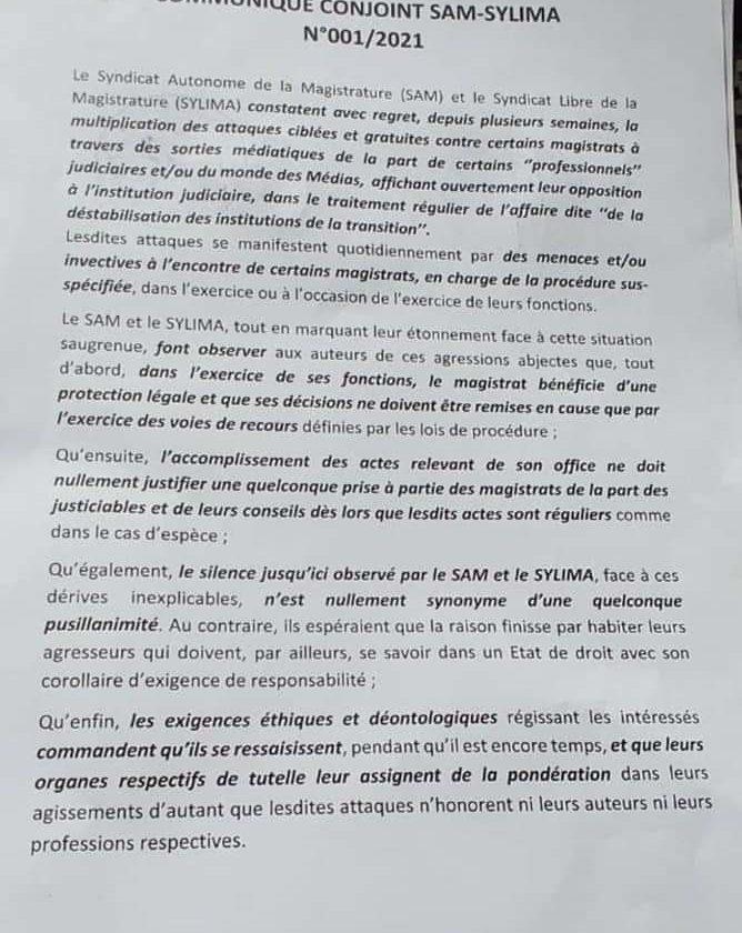 Mali:  Communiqué conjoint Sam-Sylima