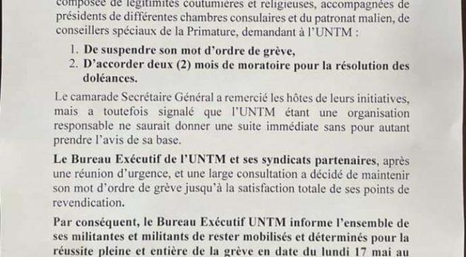 La centrale syndicale L'UNTM ira en grève à partir de lundi prochain