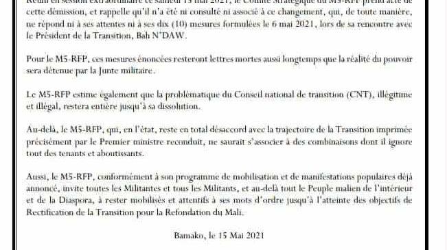COMMUNIQUE N°018 – CS/M5-RFP SUITE A LA DEMISSION-RECONDUCTION DU PREMIER MINISTRE DE TRANSITION