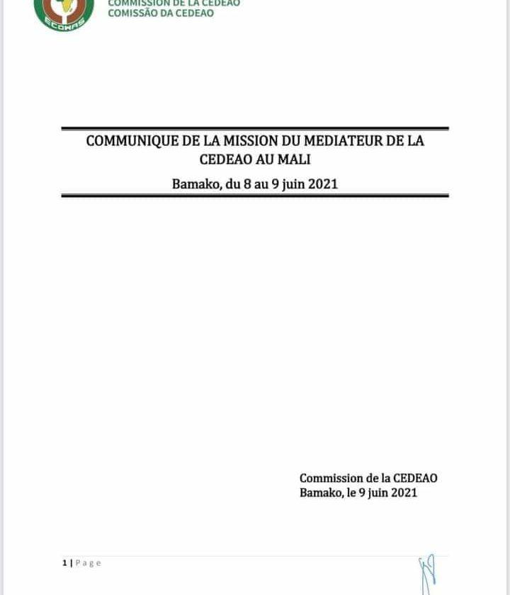 Communiqué final de la médiation de la CEDEAO au Mali