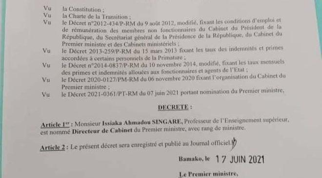 Mali: Monsieur Issiaka Ahmadou SINGARA nommé  directeur  de cabinet  du Premier ministre, avec  rang de ministre
