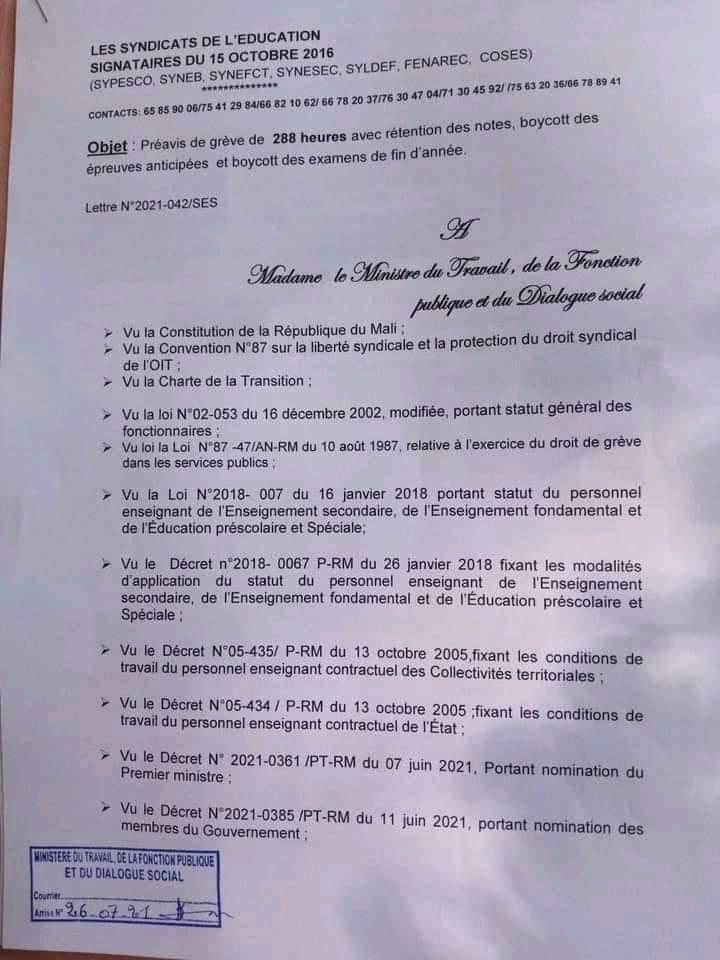 MALI: Les Syndicats  de l'Éducation observent une grève  de 12 jours  soit 288 heures
