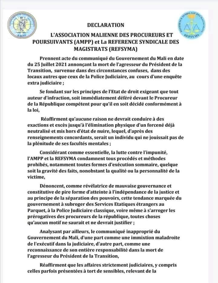 Déclaration de l'Association malienne  des procureurs  et poursuivants( AMPP) et la référence syndicale  des magistrats ( REFSYMA)