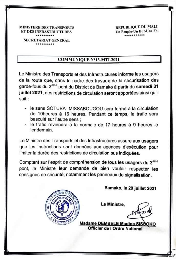 COMMUNIQUÉ DU MINISTRE DES TRANSPORTS ET DES INFRASTRUCTURES A L'ATTENTION DES USAGERS DE LA ROUTE !