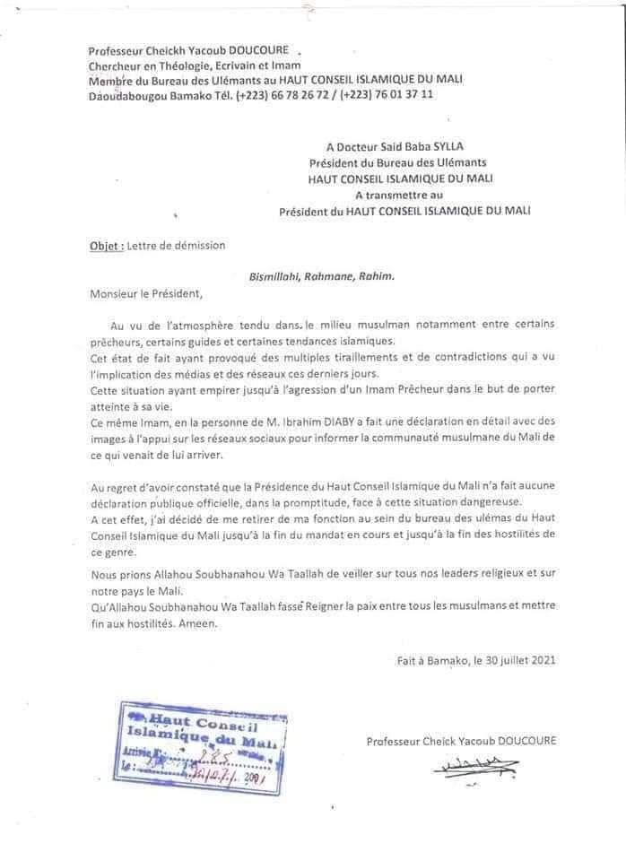 URGENT : Le Professeur Cheick Yacoub Doucoure démissionne de ses fonctions au sein du bureau des ulémas de haut conseil islamique du Mali. Plus de précisions dans sa lettre de démission