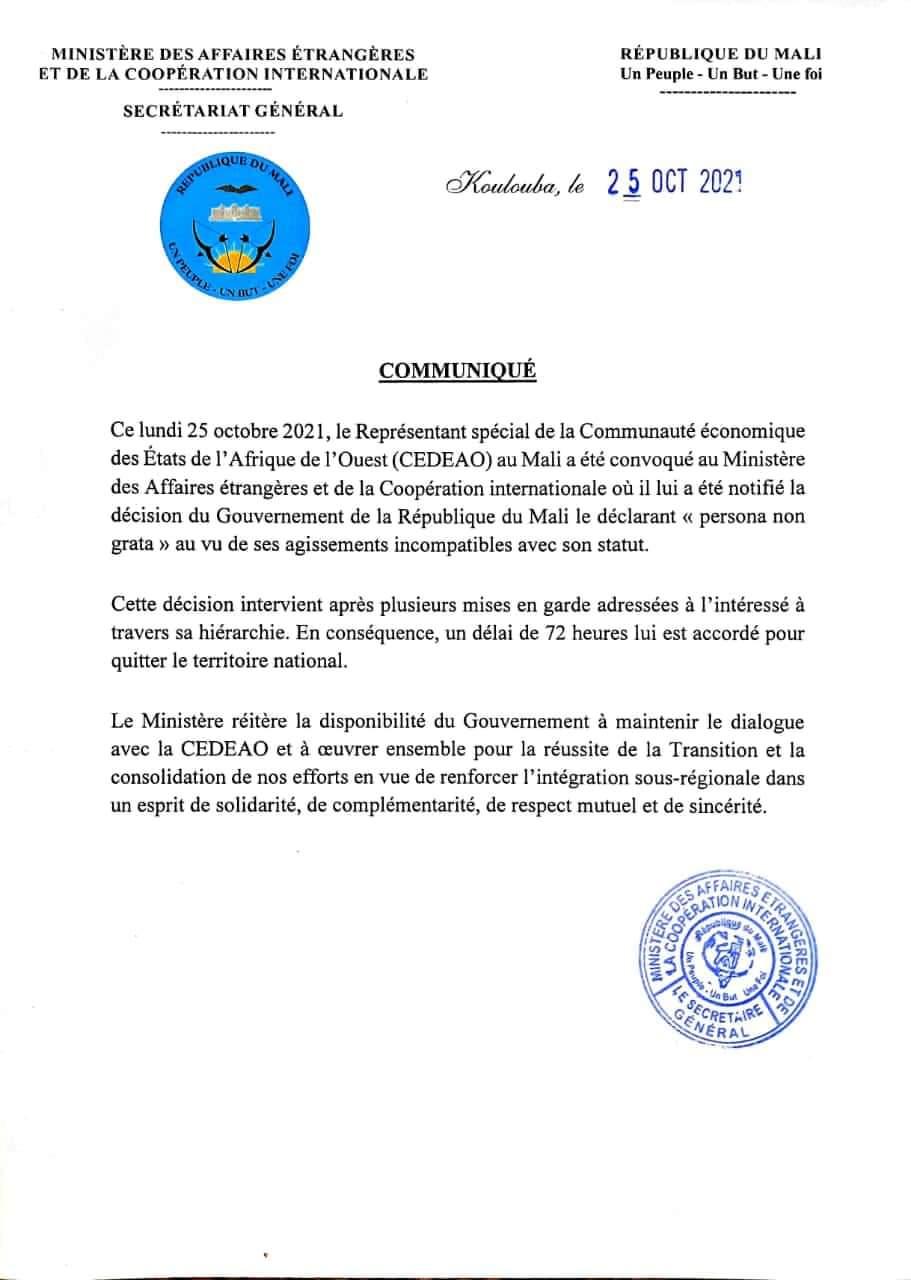 Le gouvernement du Mali déclare le Représentant spécial de la CEDEAO comme personna non grata, il a 72 h pour quitter le territoire Malien.